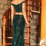 Sequined Green 2 Piece Evening Skirt