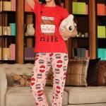 Women's Patterned Red Powder Rose Pajama Set
