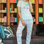 Women's Patterned Blue Pajama Set