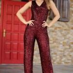 Women's Sequined Claret Red Overalls