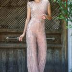 Women's Sequin Powder Rose Overall