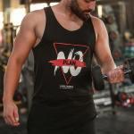 Men's Printed Black Sleeveless T-shirt