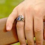 Women's Blue Zircon Gemmed 925 Carat Silver Ring