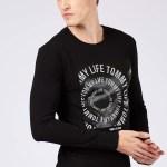 Men's Text Print Black Sweatshirt
