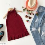 Women's Sleeveless Ruffle Hem Claret Red Tricot Blouse