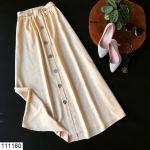 Women's Elastic Waist Button Mink Skirt