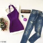 Women's Collar Detail Purple Tricot Blouse