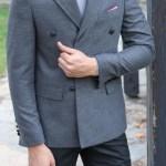 Men's Wrap Grey Slim Fit Jacket