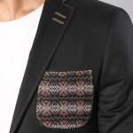 Men's Black Cotton Slim Fit Jacket