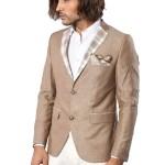 Men's Collar & Pocket Plaid Beige Linen Blazer Jacket