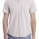 Men's Short Sleeves Cream Slim Fit Shirt