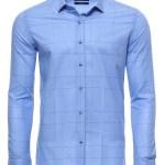 Men's Checkered Light Blue Slim Fit Shirt