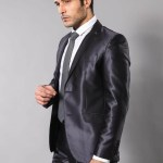 Men's Shiny Navy Blue Formal Suit Set