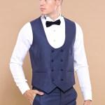 Men's Removable Collar Navy Blue Formal Suit Set