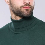 Men's Turtleneck Green Tricot Sweater