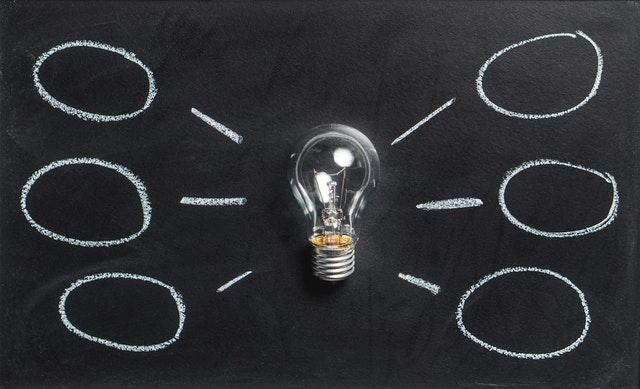 Light Bulb on Chalkboard with Idea Bubbles