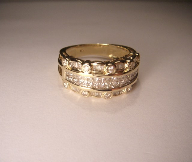 Unique Estate K Yellow Gold Princess Baguette Diamond Wide Wedding Band Ring