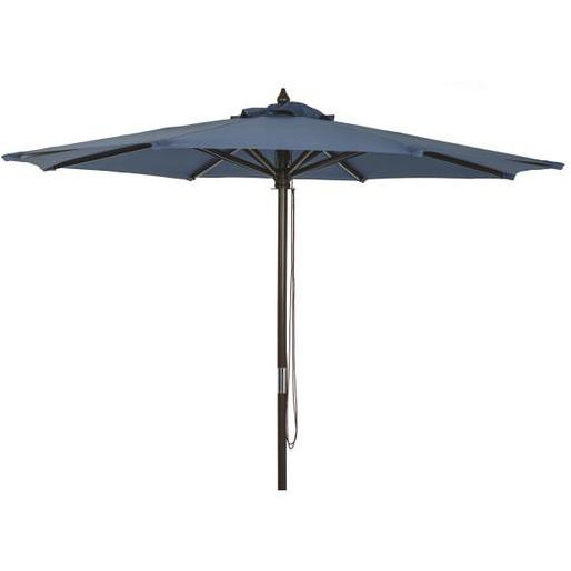 outdoor expressions 9 ft pulley heather blue market patio umbrella with chrome plated hardware