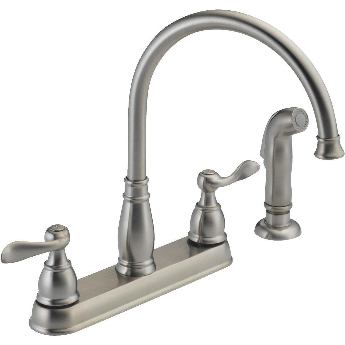 delta windemere dual handle lever kitchen faucet with side spray stainless