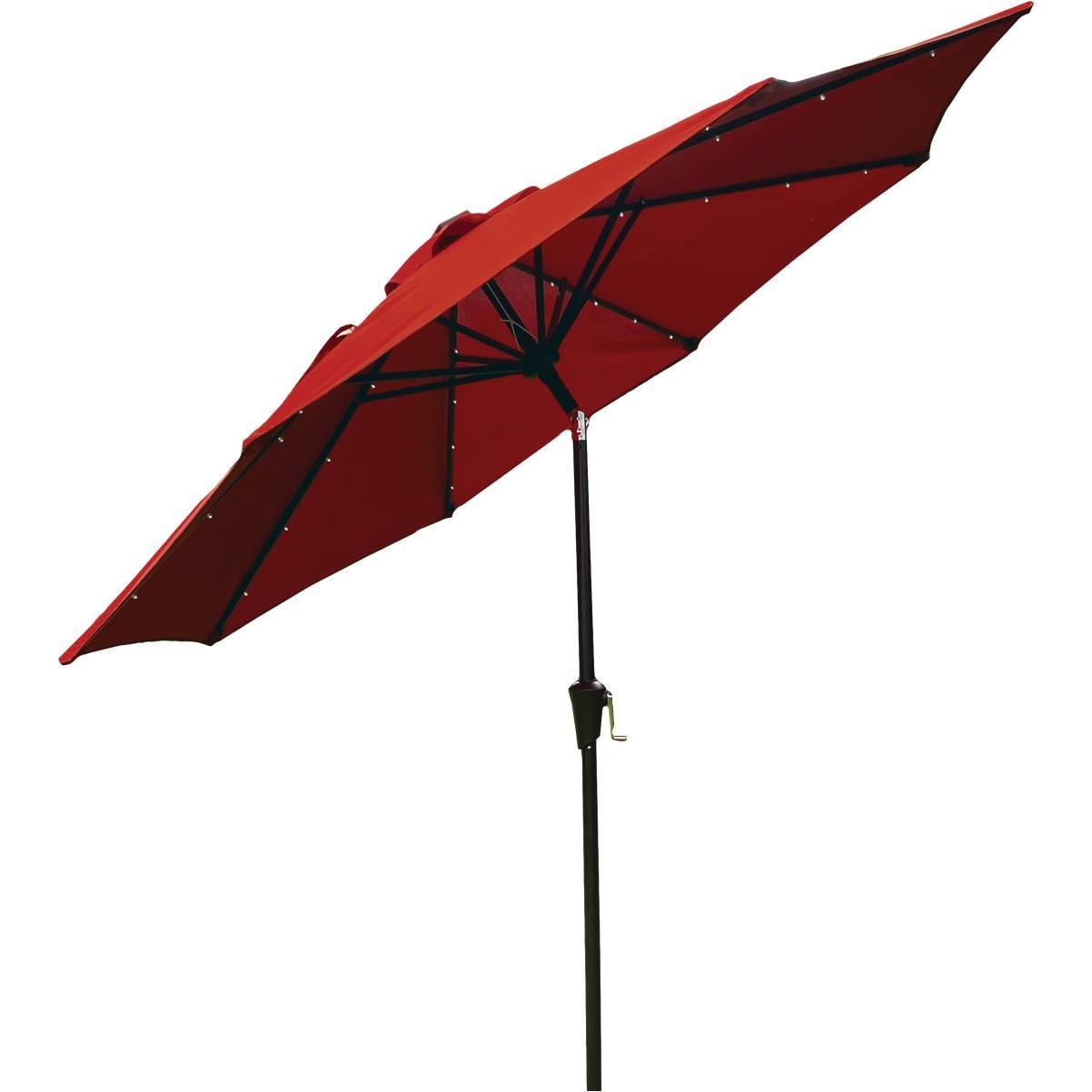 outdoor expressions 9 ft aluminum tilt crank crimson red patio umbrella with solar led lights
