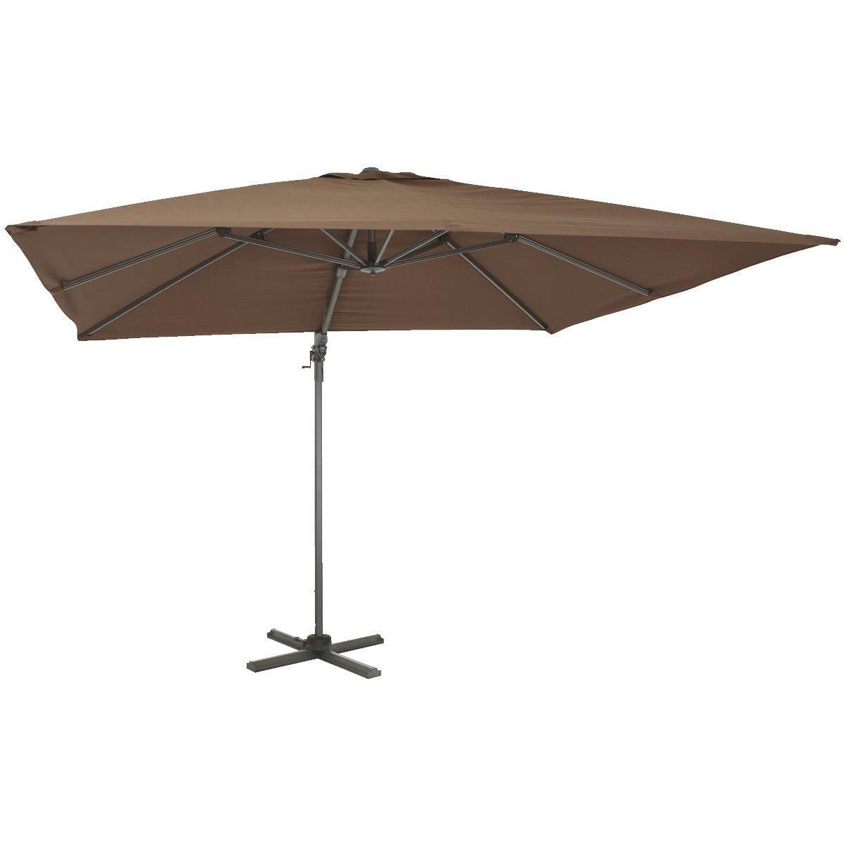outdoor expressions 10 ft square aluminum offset brown patio umbrella