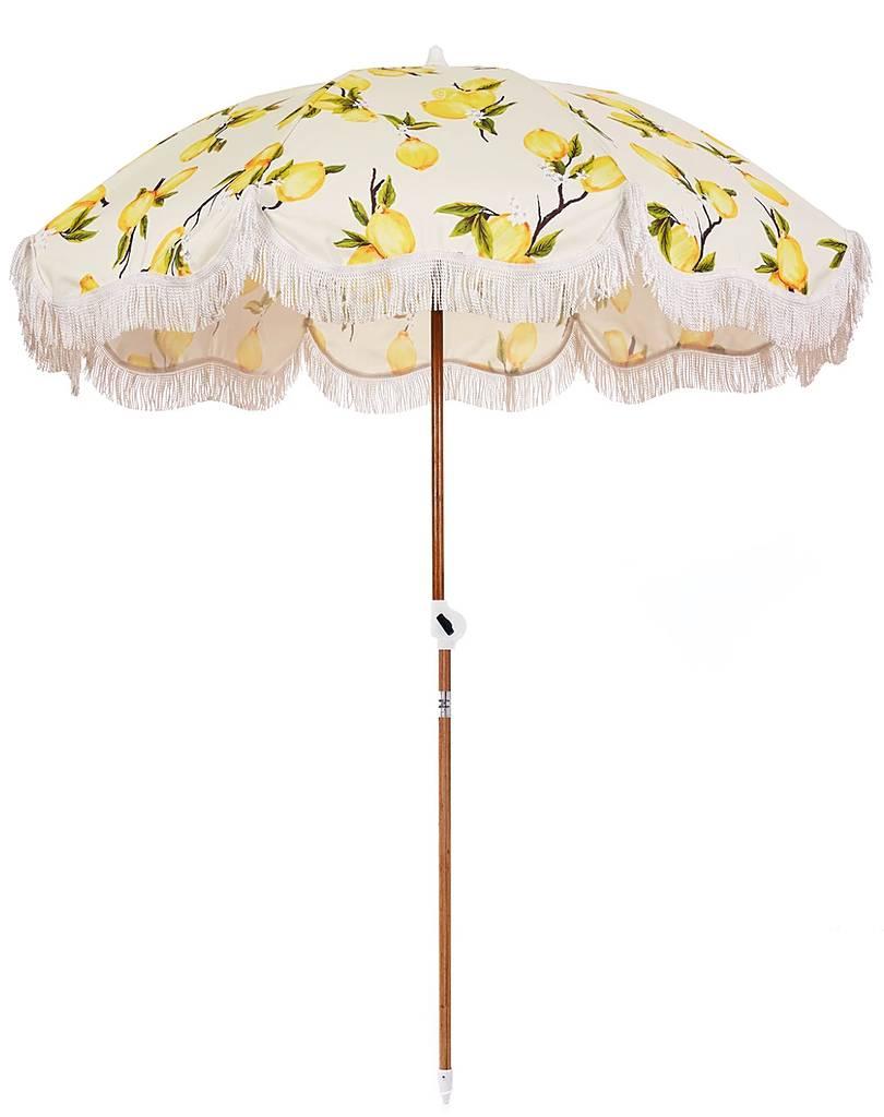 beach patio umbrella yellow lemons