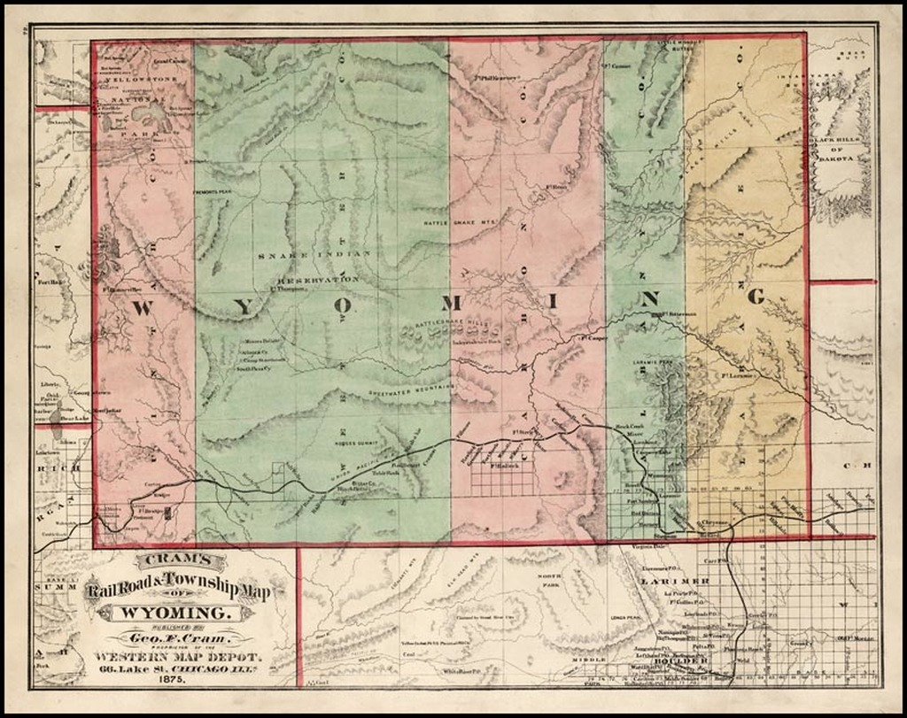 Cram S Rail Road Amp Township Map Of Wyoming