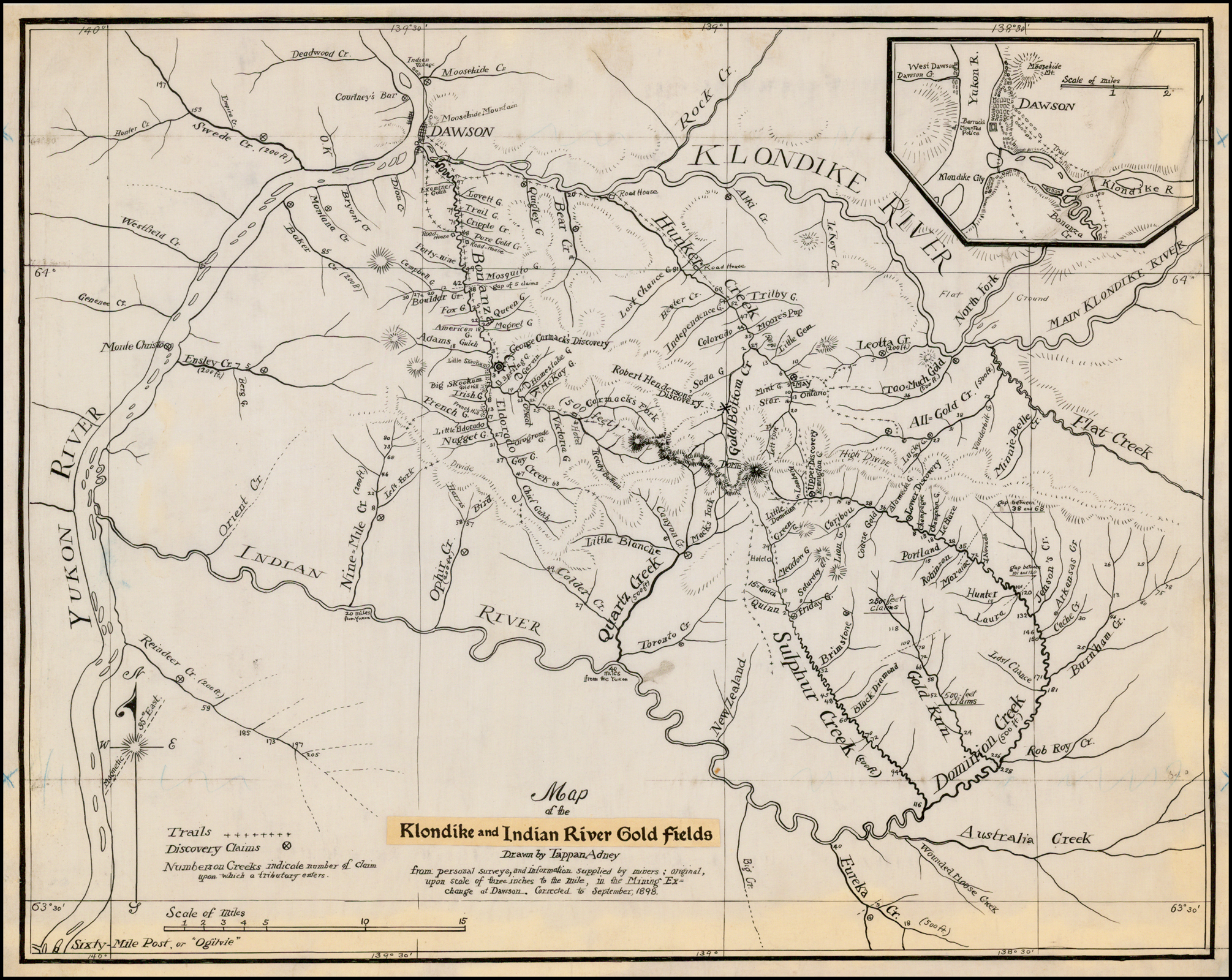 Map Of The Klondike And Indian River Gold Fields Drawn By