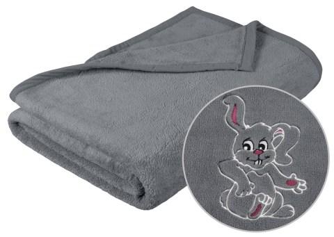 Dětská deka s výšivkou šedá