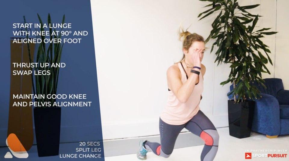 woman doing ski fitness workout for leg strength - split leg lunge