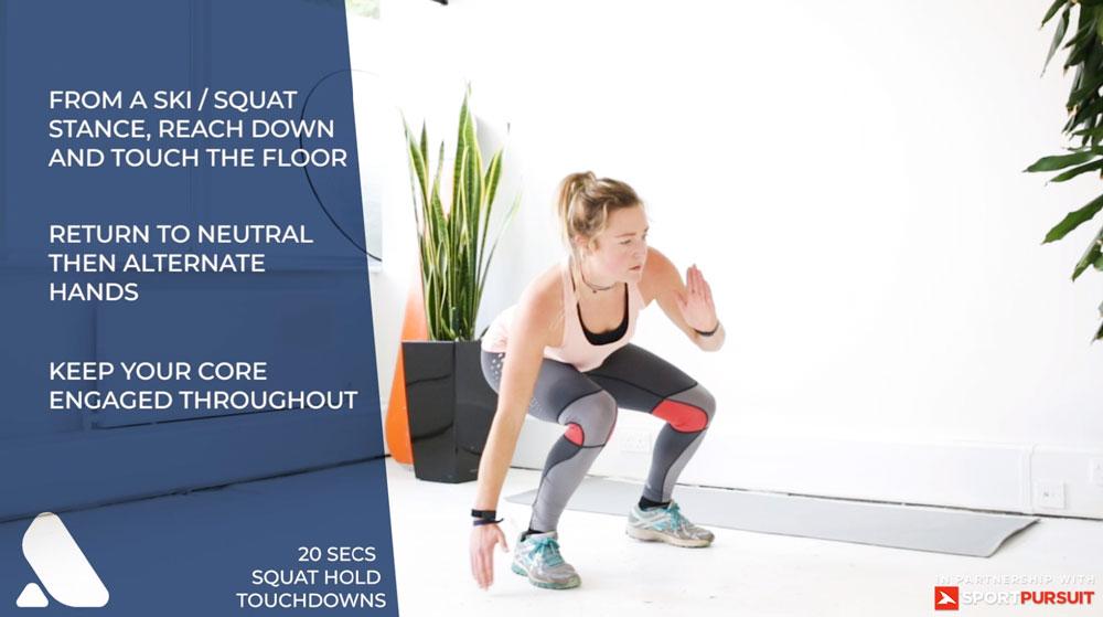 ski fitness exercise - squat touch downs for leg strength