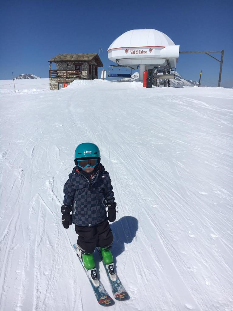 Young child skiing in Val d'Isere