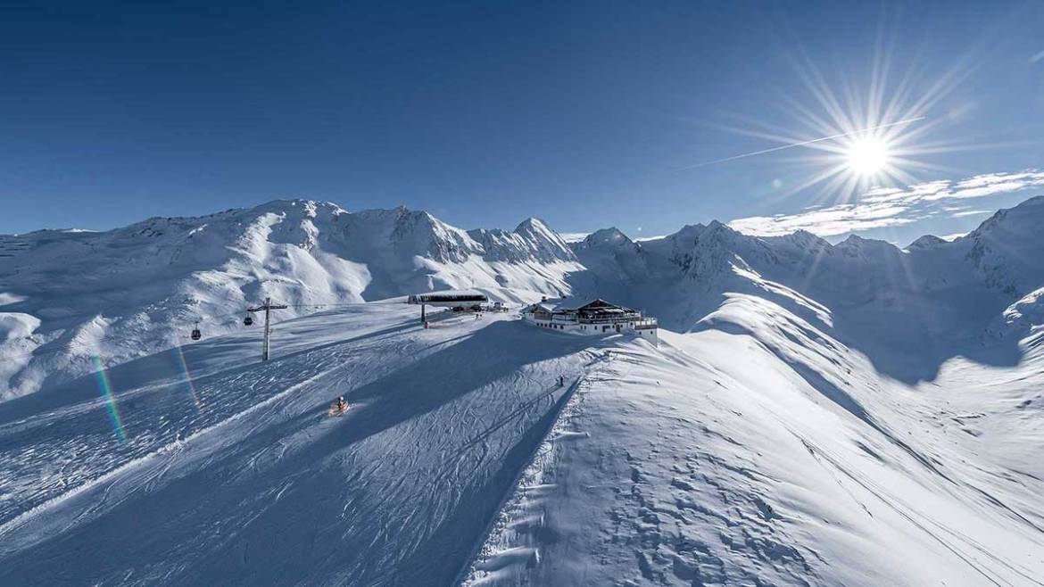 View of a beginner ski slope in Obergurgl Austria
