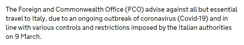 Text from FCO website advising against travel to Italy due to Coronavirus