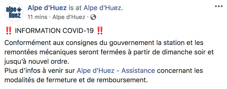 alpe d'huez closed due to coronavirus