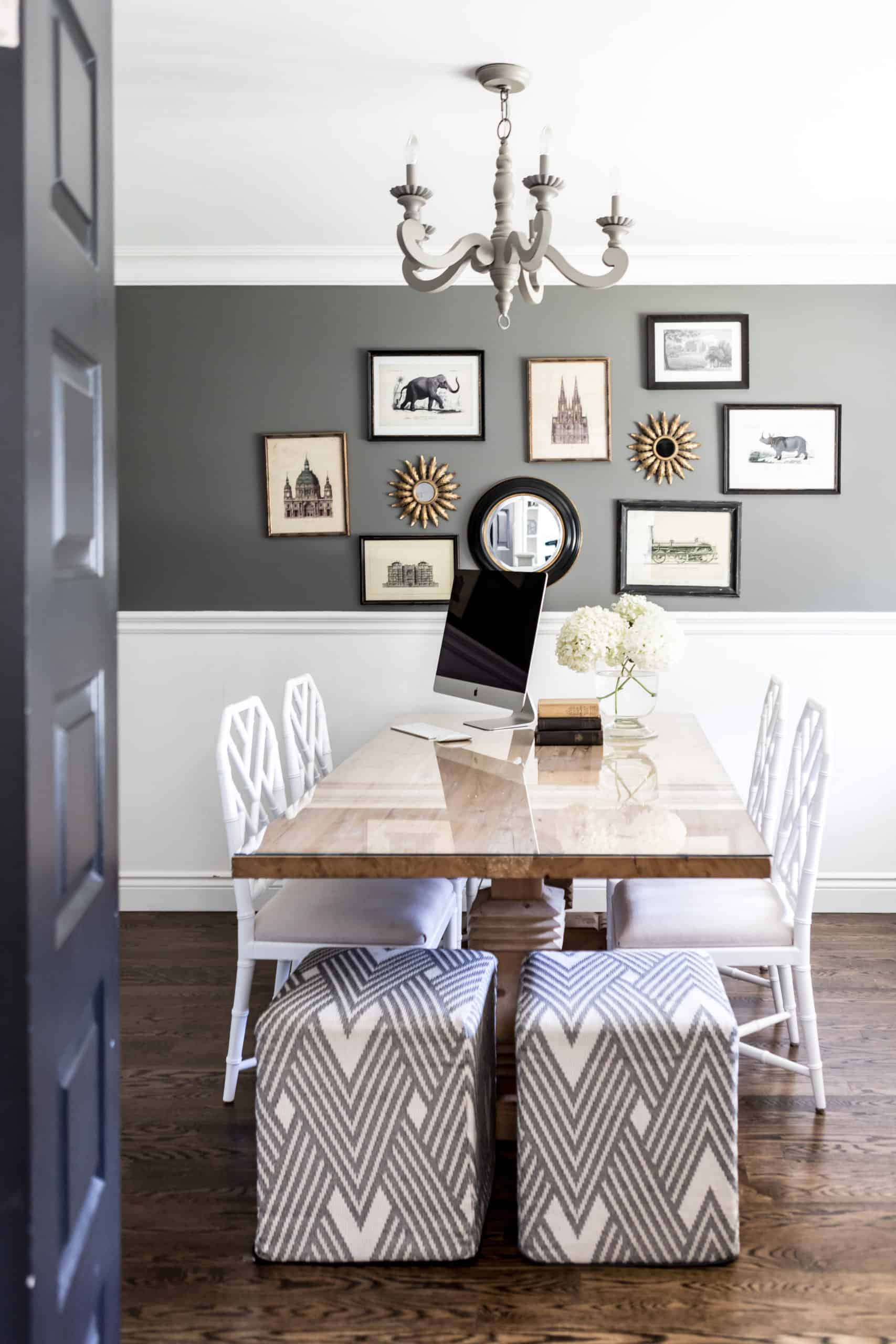 Dining room with white chair at the table