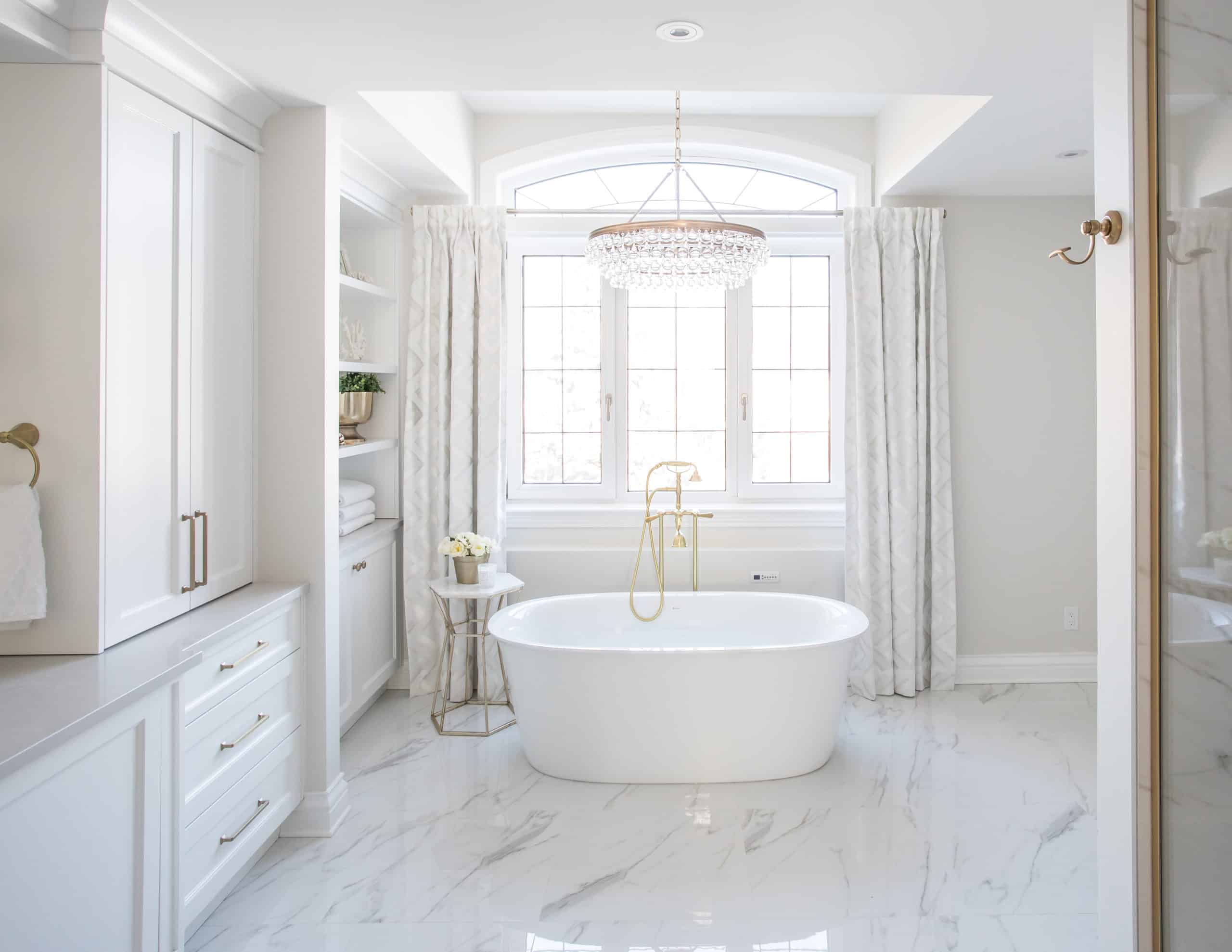 Soaker tub with a golden faucet