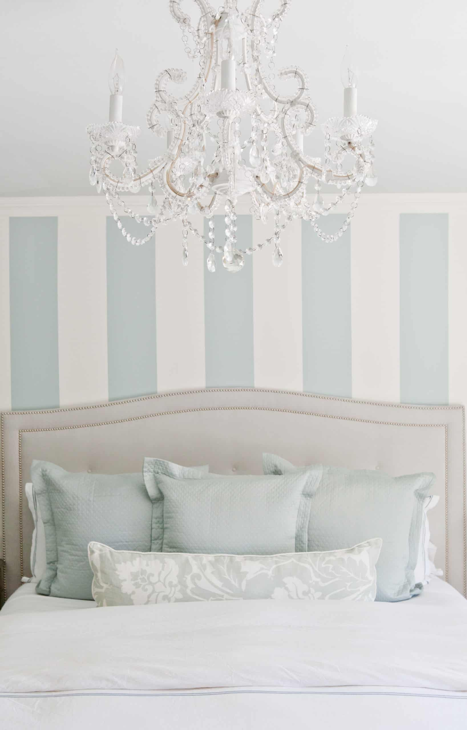 White and light blue wall inside a bedroom