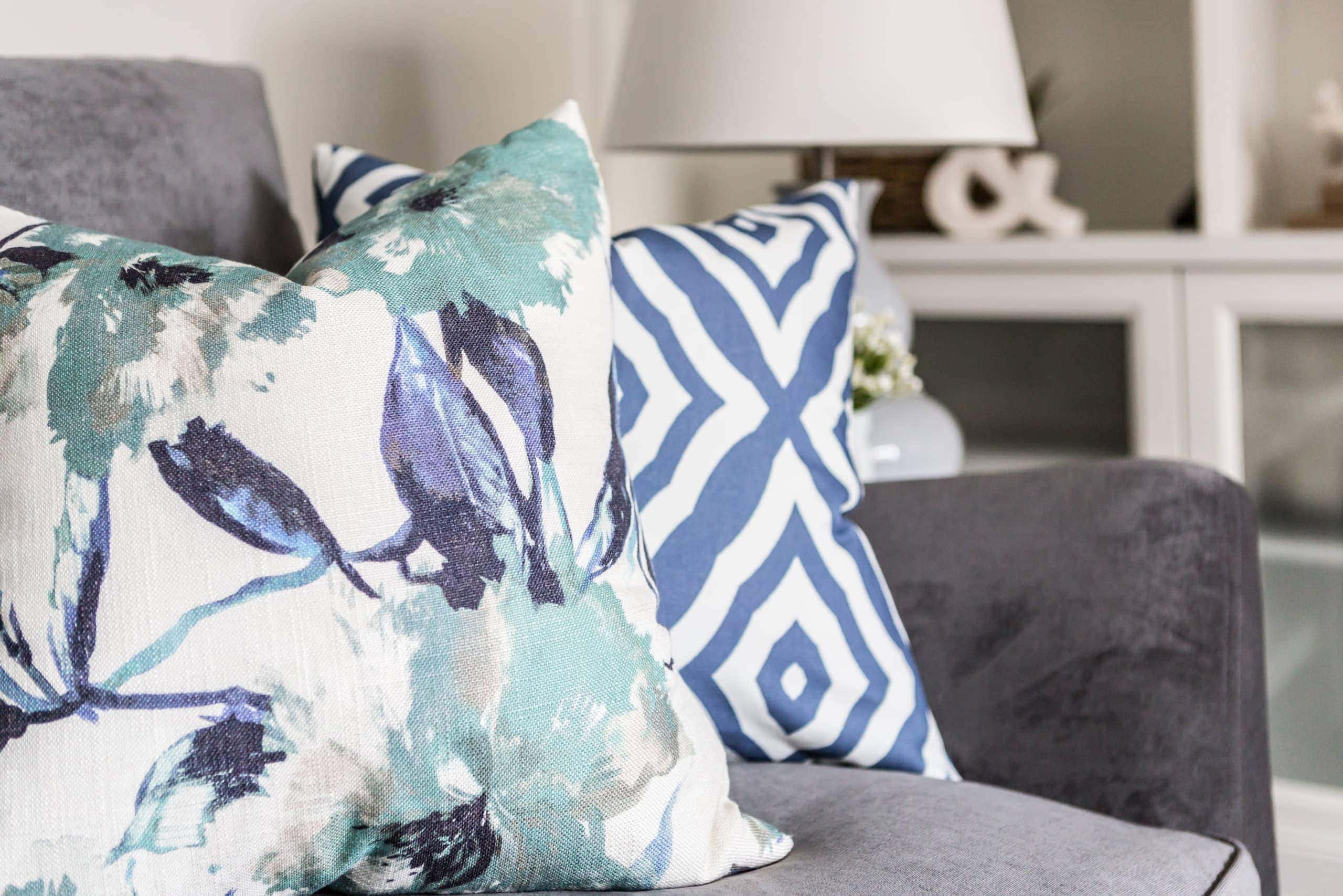 Patterned pillows on a couch