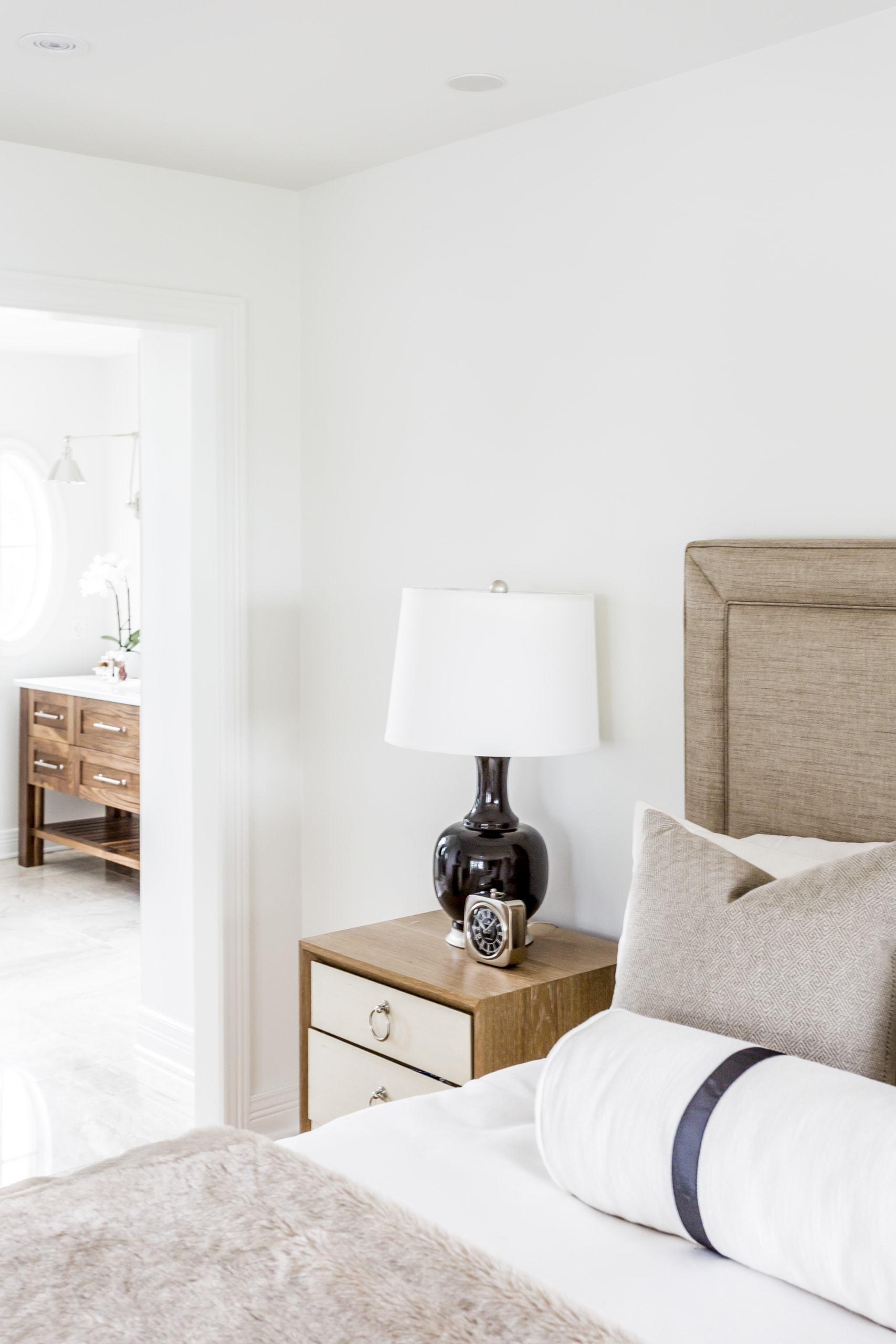 Lamp on an bedside table inside the master bedroom