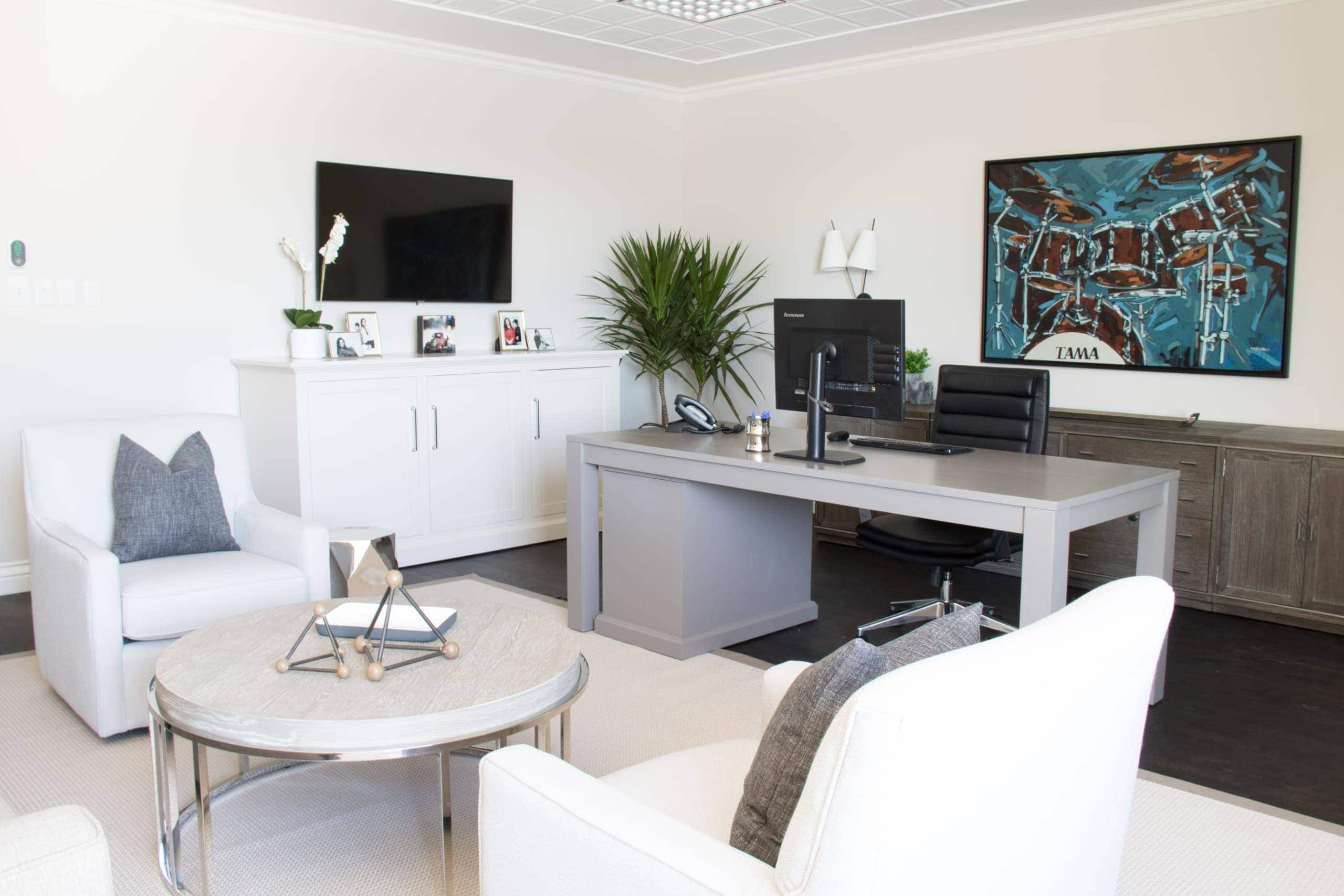 Office within a large modern living room