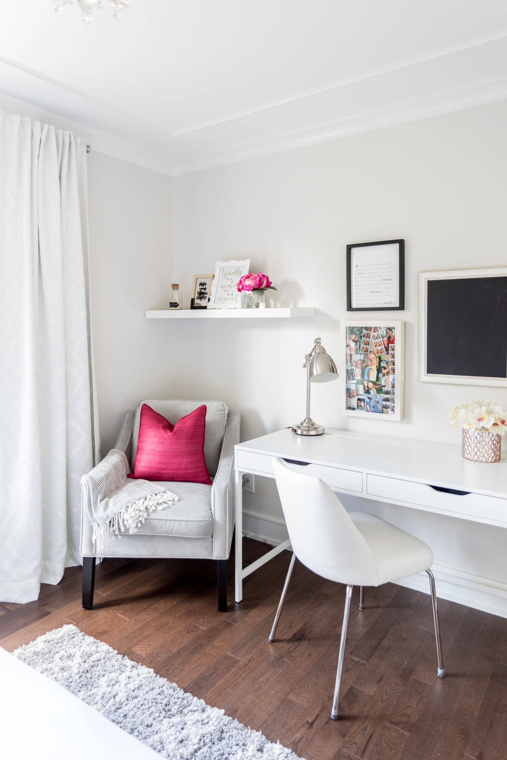 Bright white office space inside a bedroom