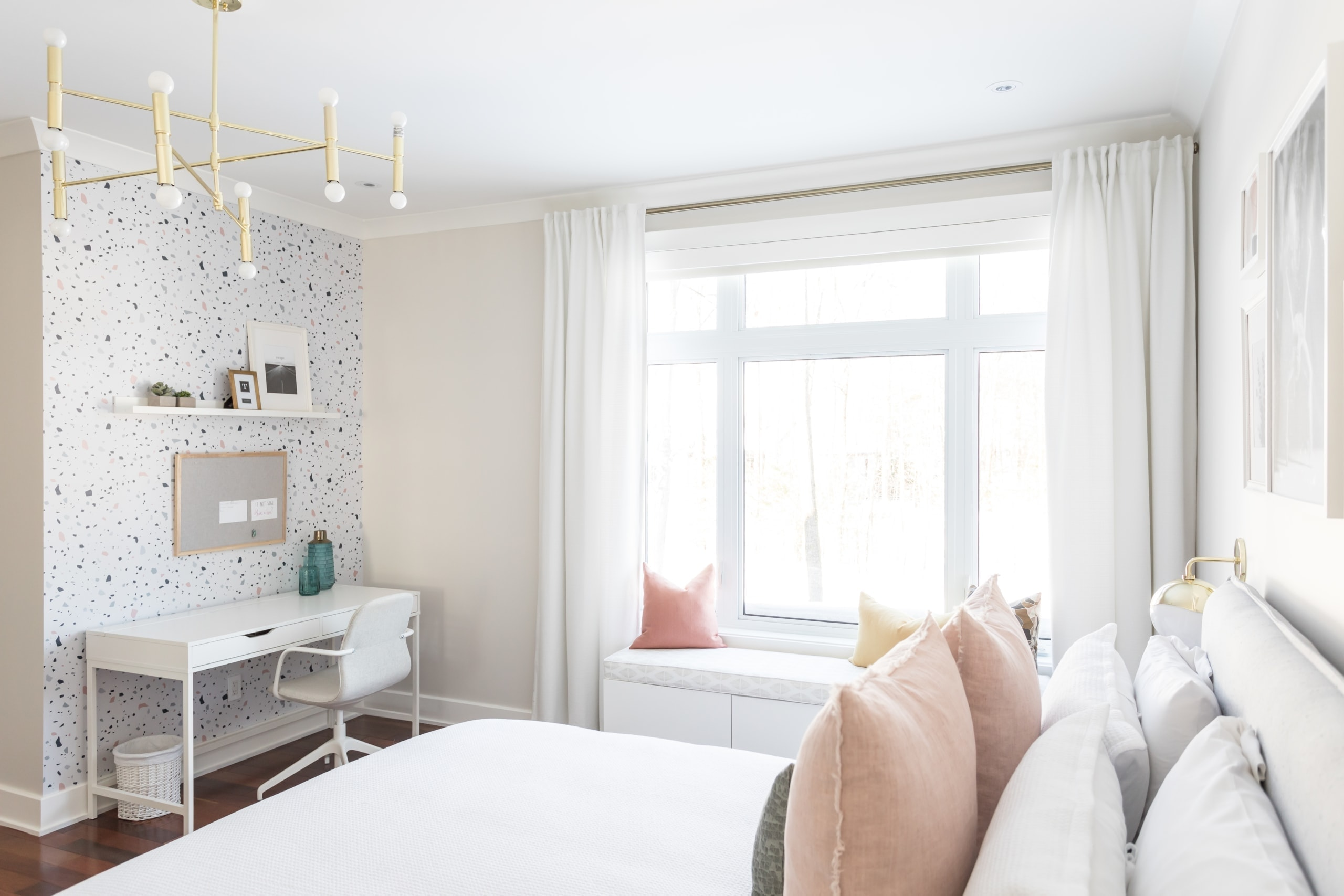 Master bedroom with a bright large window