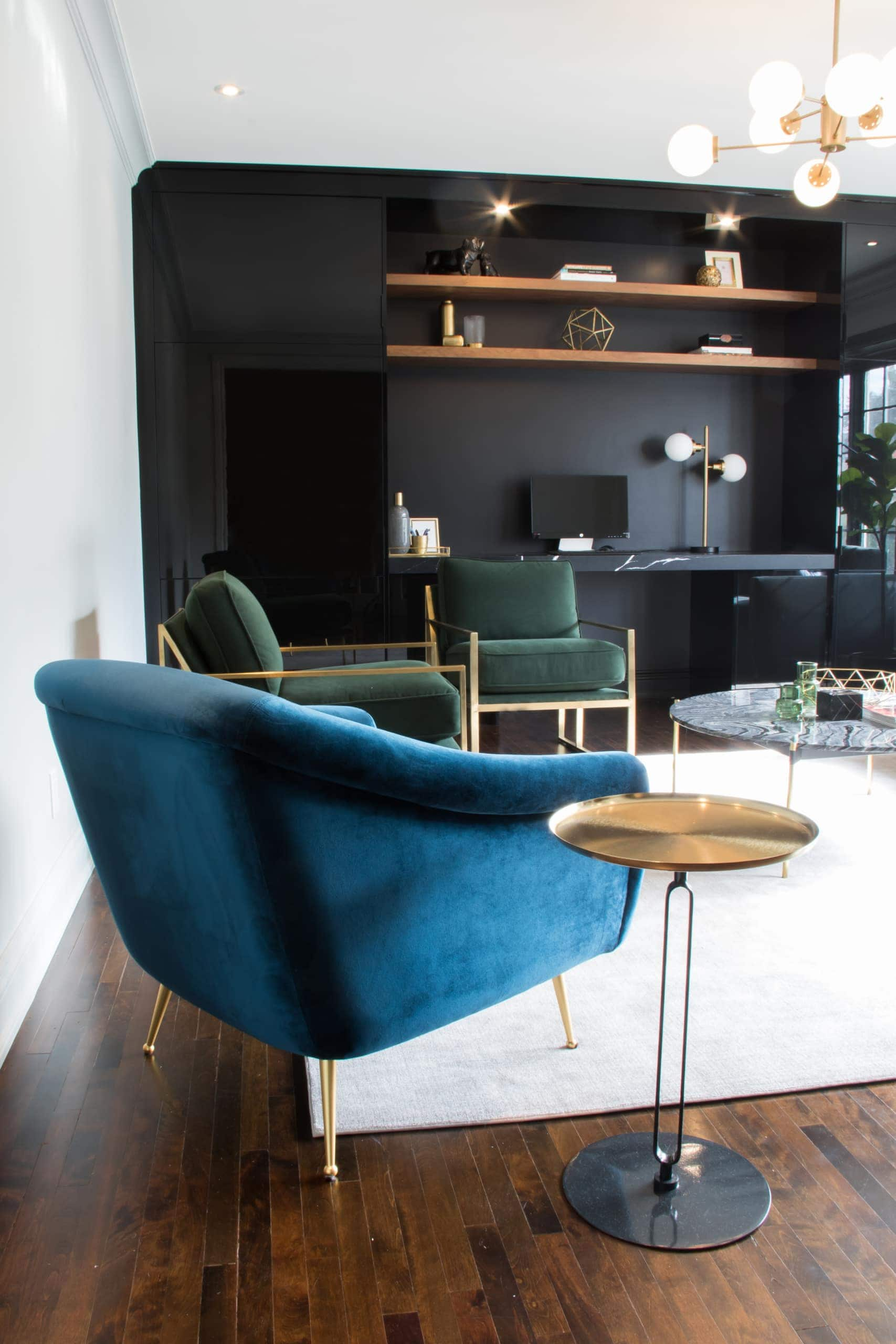 Blue chair inside office space