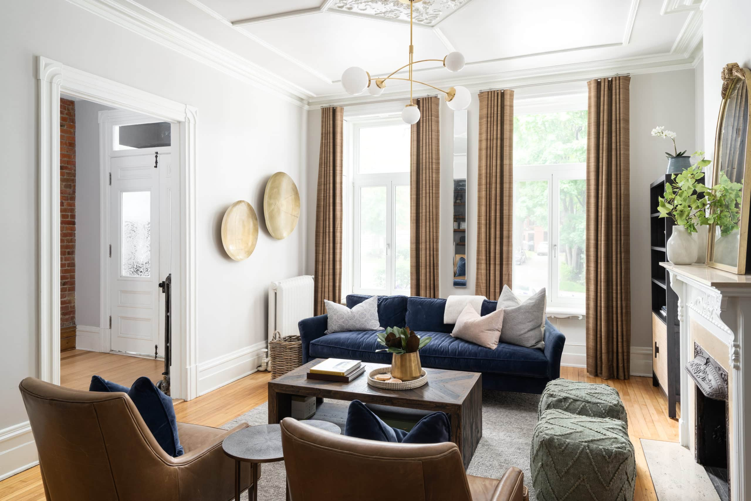 Large, tall, modern, clean living room