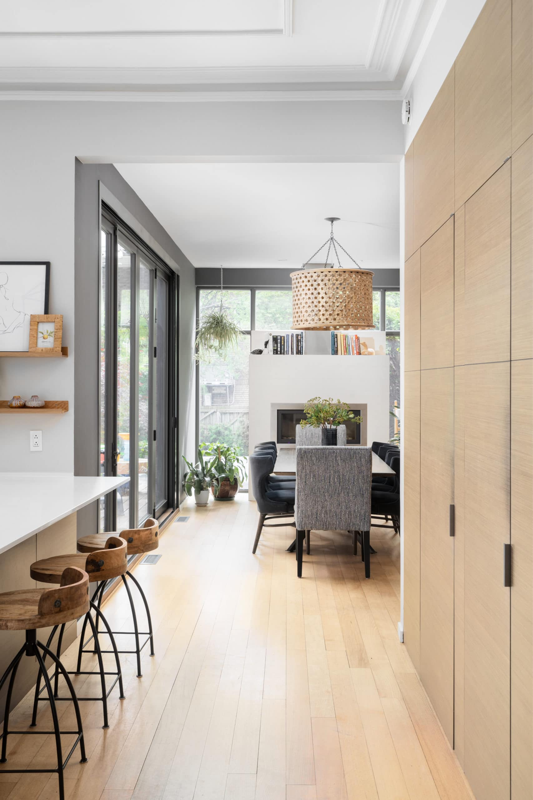 Modern, clean dining room and kitchen open concept