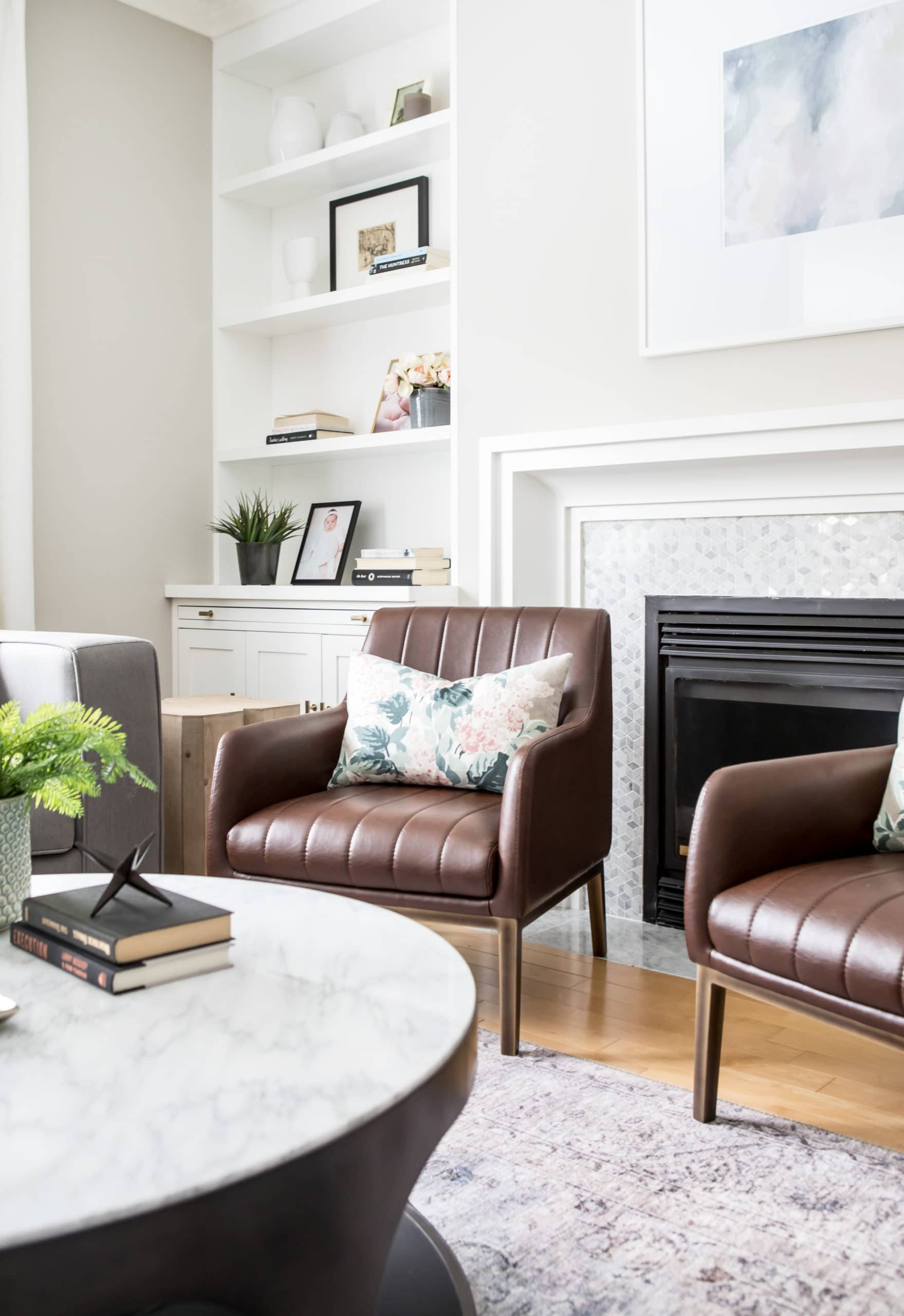 Modern living room with a focus on a brown chair