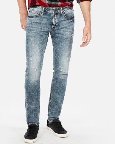 Express Skinny Light Wash Destroyed Stretch+ Soft Cotton Jeans
