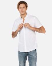 Slim Slub Chambray Short Sleeve Shirt