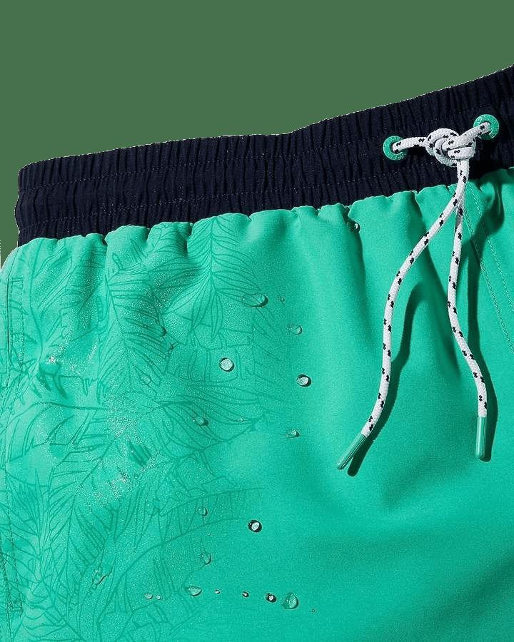 Express Palm Print Reveal Drawstring Swim Trunks